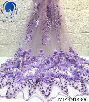 Beautifical 3d Lace Fabrics Top Sale 3d Flowers Nigerian Net Lace Fabric Embroidery Beads Lace French Fabric For Dress ML44N143
