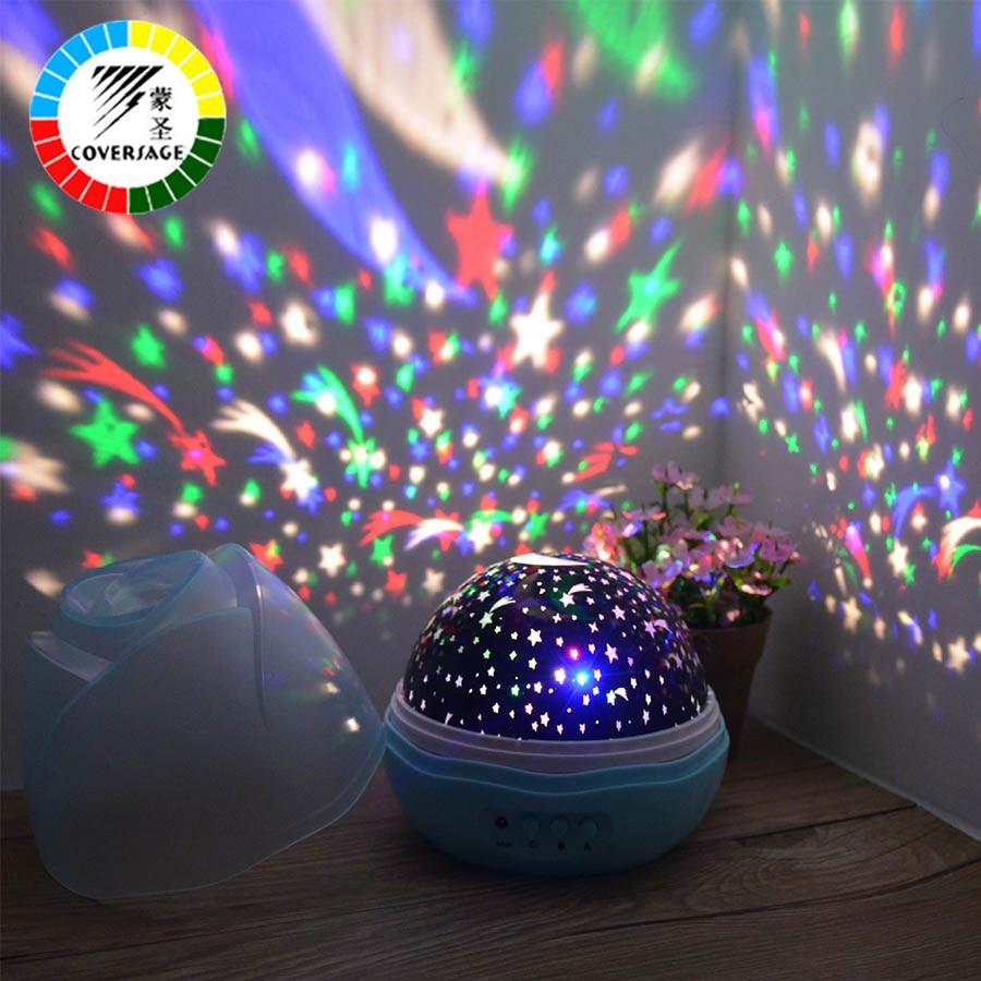 Proyector de luz nocturna giratorio cielo estrellado estrella maestro giratorio romántico Led Lámpara USB proyección niños bebé dormir