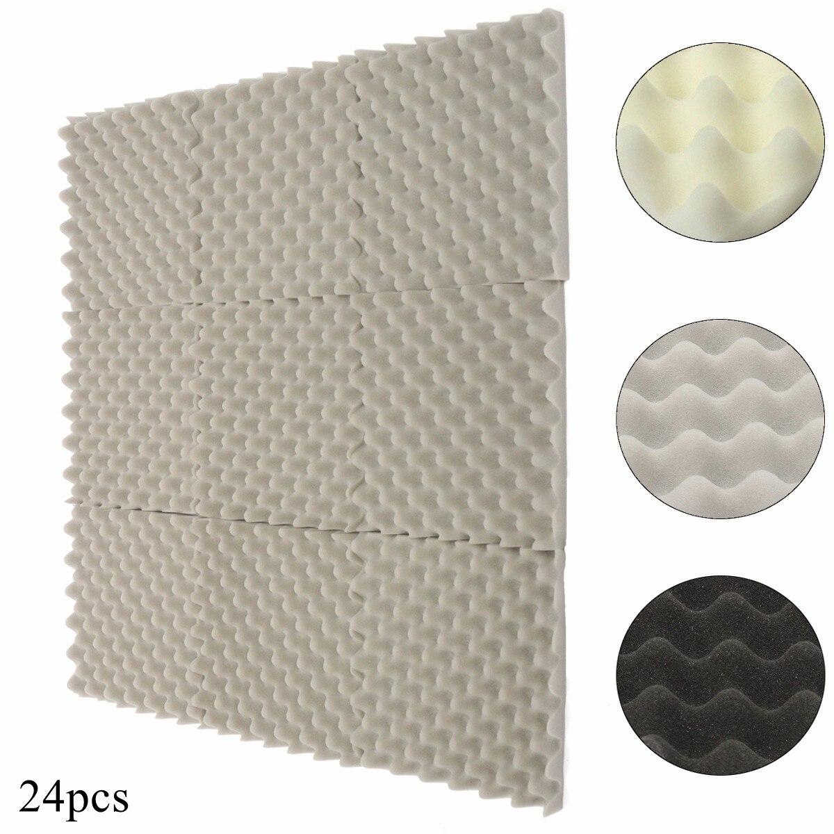 24Pcs 305x305x40mm Soundproofing Foam Acoustic Foam Sound Treatment Studio Room Absorption Wedge Tiles Polyurethane foam sound absorption coefficient analysis