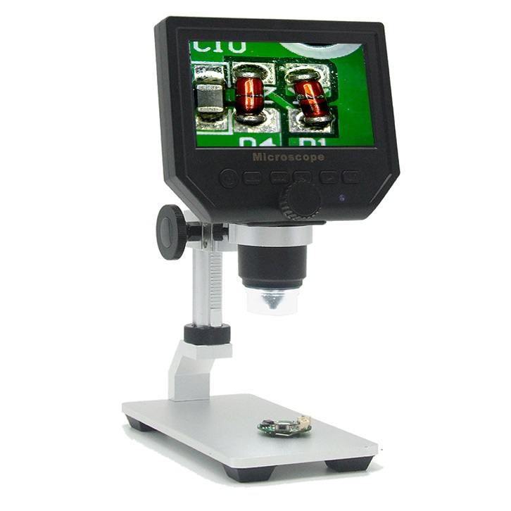 Free shipping!600X 4.3 LCD Display Microscope Zoom Portable LED Video Microscope with Aluminum stand for PCB, phone repair, BGA 1 600x usb digital electronic microscope 8 led vga microscope with 4 3 hd lcd screen stand for cellphone pcb repair