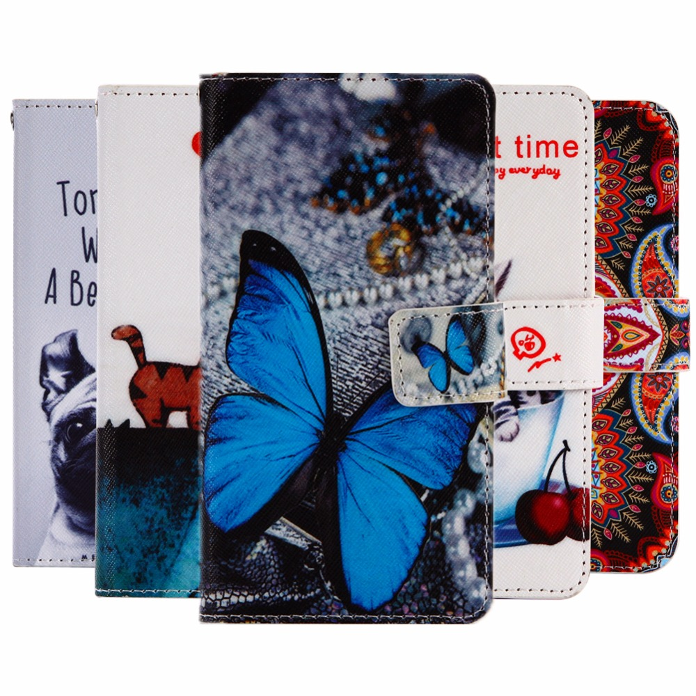 GUCOON Cartoon Wallet Case for Fly IQ4418 Era Style 4 4.0 Fashion PU Leather Lovely Cool Cover Cellphone Bag Shield
