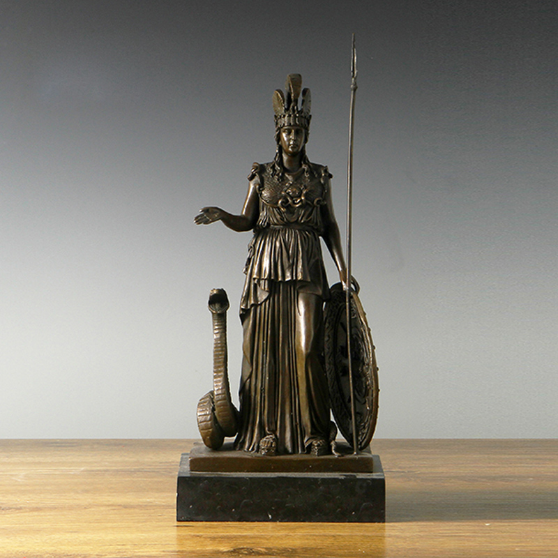 ATLIE BRONZES Mythology Athena Bronze Statue Goddess of Wisdom Vintage Arts Sculptures Christmas Gift Souvenirs handicrafts