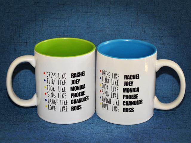 US $19 98  New Friends TV Show Series Blue Green Ceramic Coffee Tea Cup Mug  Ross Rachel Monica Joey Chandler Phoebe-in Mugs from Home & Garden on