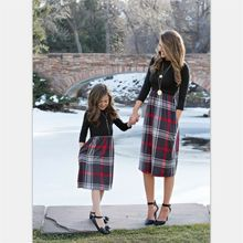 Winter Mother Daughter Clothes Parent Child Dress Women Girl Family Plaid Outfit