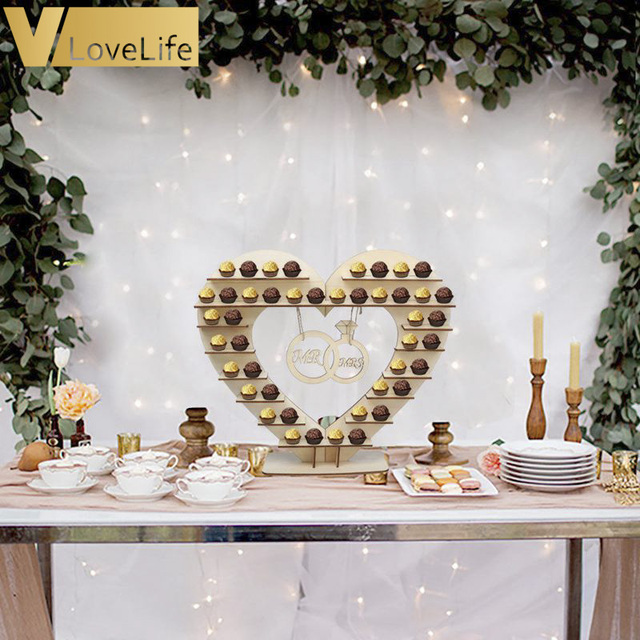 Candy Bar Stand Wedding Table Decoration Centerpiece Wooden Heart