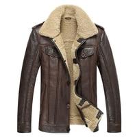Кожаная куртка Для мужчин барашек пальто Для мужчин s овчины шуба пилот верхняя одежда мода Тонкий Натуральная кожа верхняя одежда TJ15
