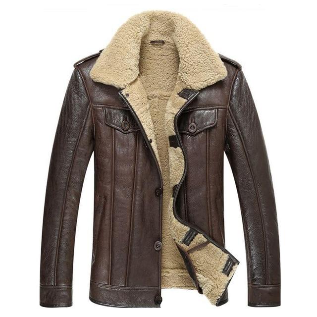 1824a0b1f7e Leather Jacket Men Shearling Coat Mens Sheepskin Fur Coat Pilot Outerwear  Fashion Slim Genuine Leather Outerwear