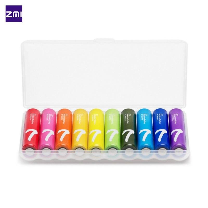 10 unids/lote xiaomi zmi ZI7 AAA lkaline Rainbow batería baterías desechables kit para teclado ratón juguetes controlador