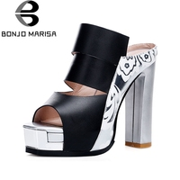 BONJOMARISA 2018 Summer Genuine Leather Women Mules Platform High Chunky Heels Pumps Elegant Print Mixed Color