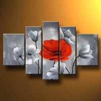 5 шт. ручной росписью картина нежный Lilies Красный мак II-Современная живопись маслом на холсте Книги по искусству Настенный декор- цветочные к...
