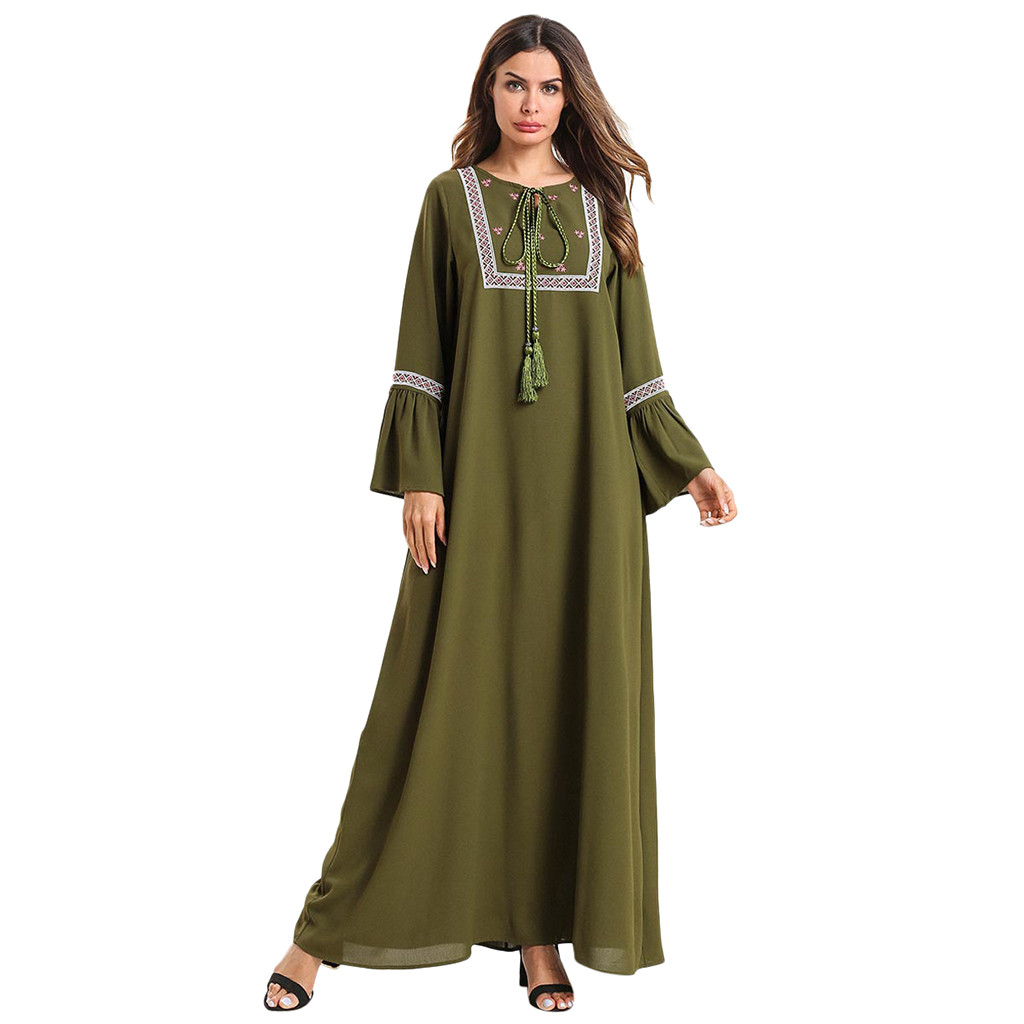 Hot Fashion Cotton Retro O-Neck Muslim Women Loose Maxi Dress Embroidery Abaya Jilbab Kaftan Muslim Dress 2019 New Arrivals