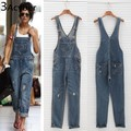 Mulheres coreanas Jumpsuit Macacão Jeans 2017 Primavera Casual Baggy Jeans Full Length Pinafore Dungaree Romper Mulheres JumpsuitPlus Tamanho