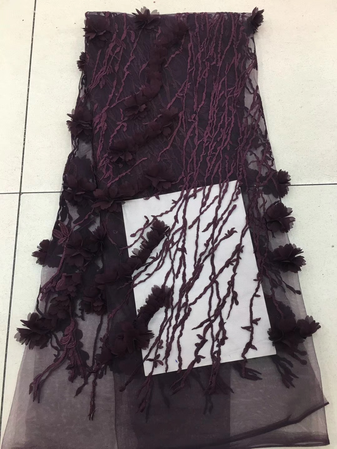 Deep purple selling african Tulle lace fabric high quality best cotton african lace fabric for green Embroidery Swiss voile lace