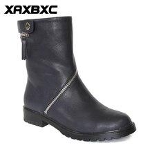 XAXBXC Retro British Style font b Leather b font Oxfords Black Short Boot font b Women