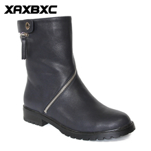 XAXBXC Retro British Style Leather Oxfords Black Short Boot Women Boots Metal Zipper Round Toe Handmade Casual Lady Shoes