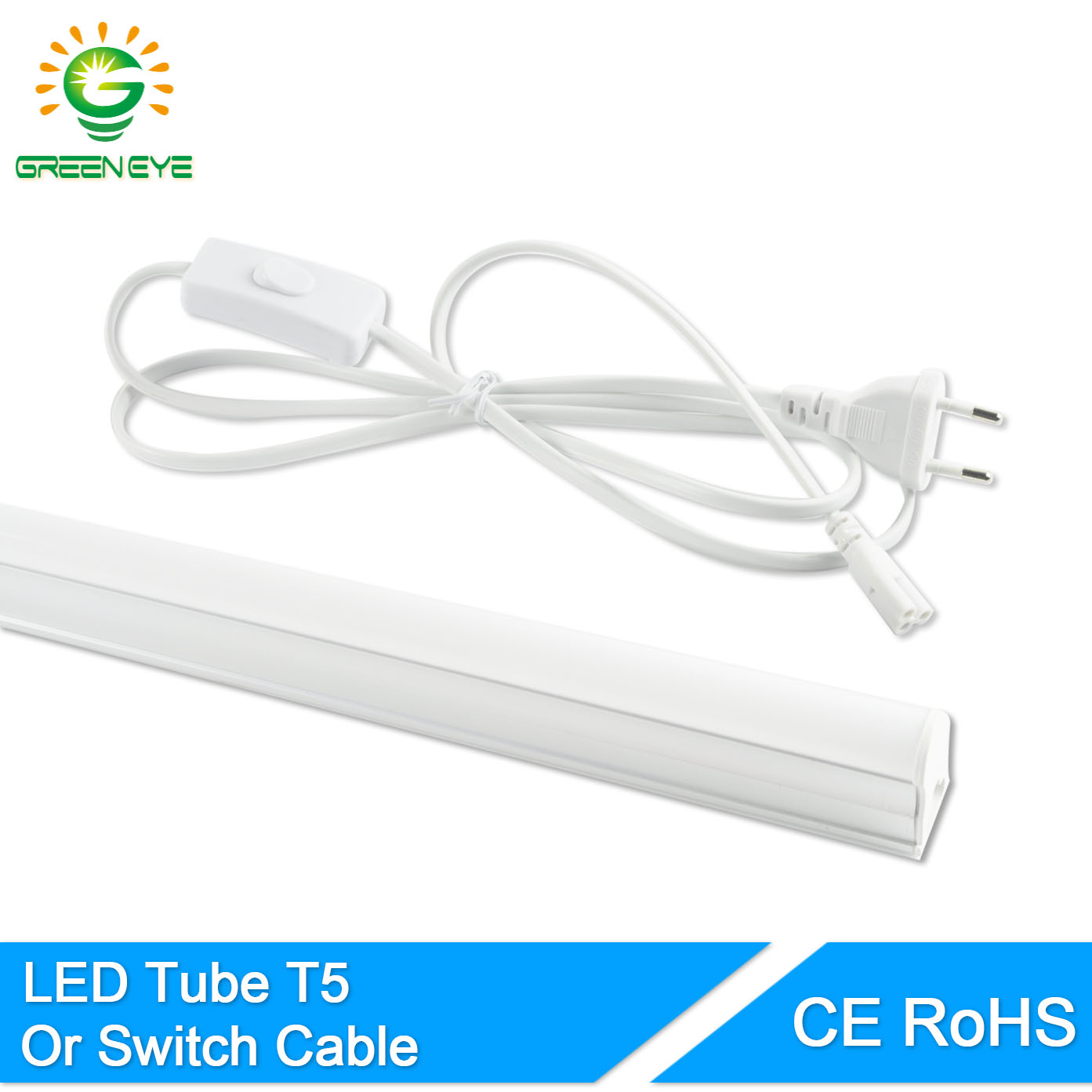 GreenEye EU Switch Cable Wire/Integrated LED Tube T5 Light 220v 240v 300mm 6w 600mm 10w Fluorescent T5 LED Lamp Cold White Warm цена