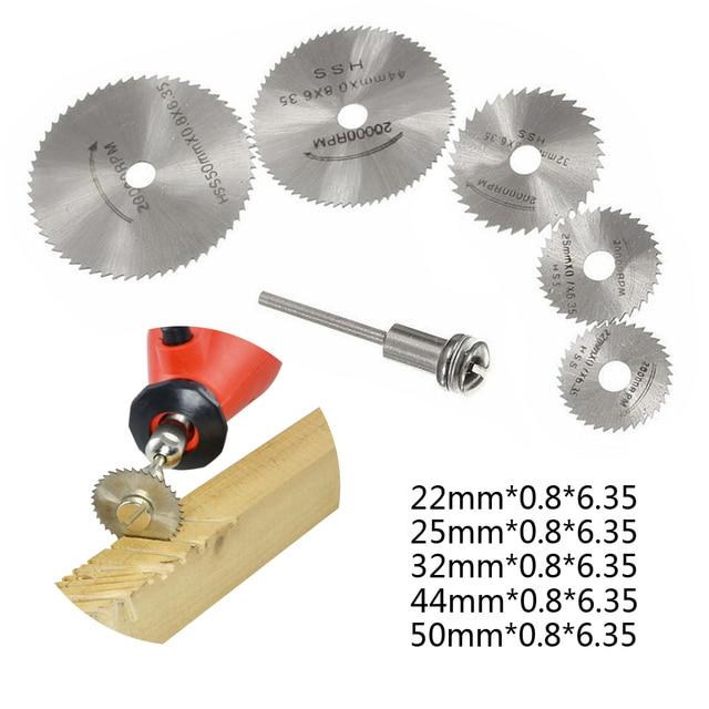 Matkap Dremel aksesuarları HSS 1 adet Mini dairesel testere bıçakları güç araçları ahşap kesme disk taşlama çark seti döner aletler için