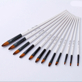 12 pinceaux Pinceaux de peinture de taille mixte Nylon blanc Aquarelle Brush Set Student Children Painter Art Supplies 2