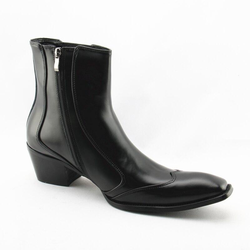 Hombres Toe Zapatos Negocios Botas Zipper Chunky De Moda Negro Square Choo Botines Auténtico Tacón Picture Vestido Alto Cuero Eunice As wEIqBfA