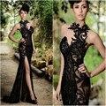 Robe De Soirée 2017 Sexy Negro Largo Sirena Vestidos de Noche cuentas Apliques de Encaje de Tul con Hendidura Opacidad vestidos de Noche de Baile vestidos