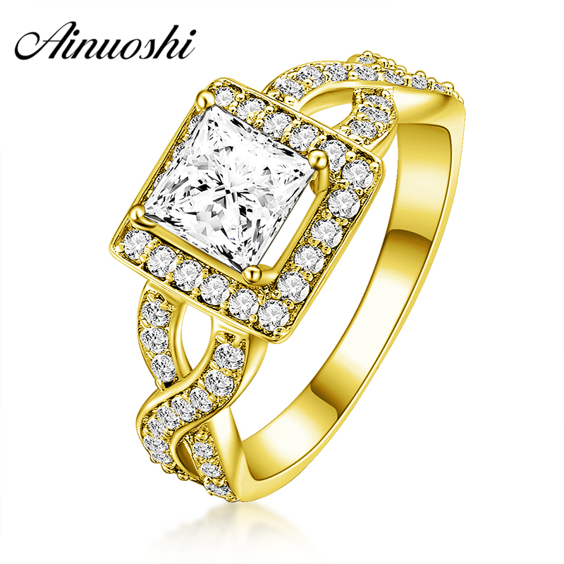 AINUOSHI 10K Solid Yellow Gold Wedding Ring Luxury 1 Carat Princess Cut Sona Simulated Diamond Halo Bague Women Engagement Rings