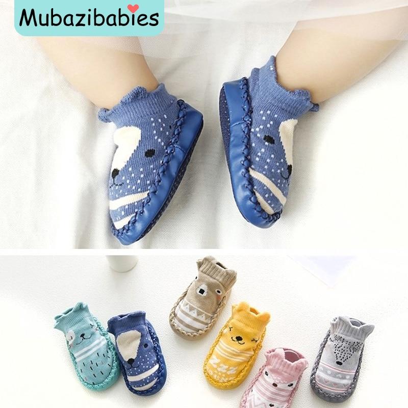 Baby Toddler Shoes and Socks Infant Cartoon Socks Kids Indoor Floor Socks Leather Sole Non-Slip Baby Socks Moccasins Slippers