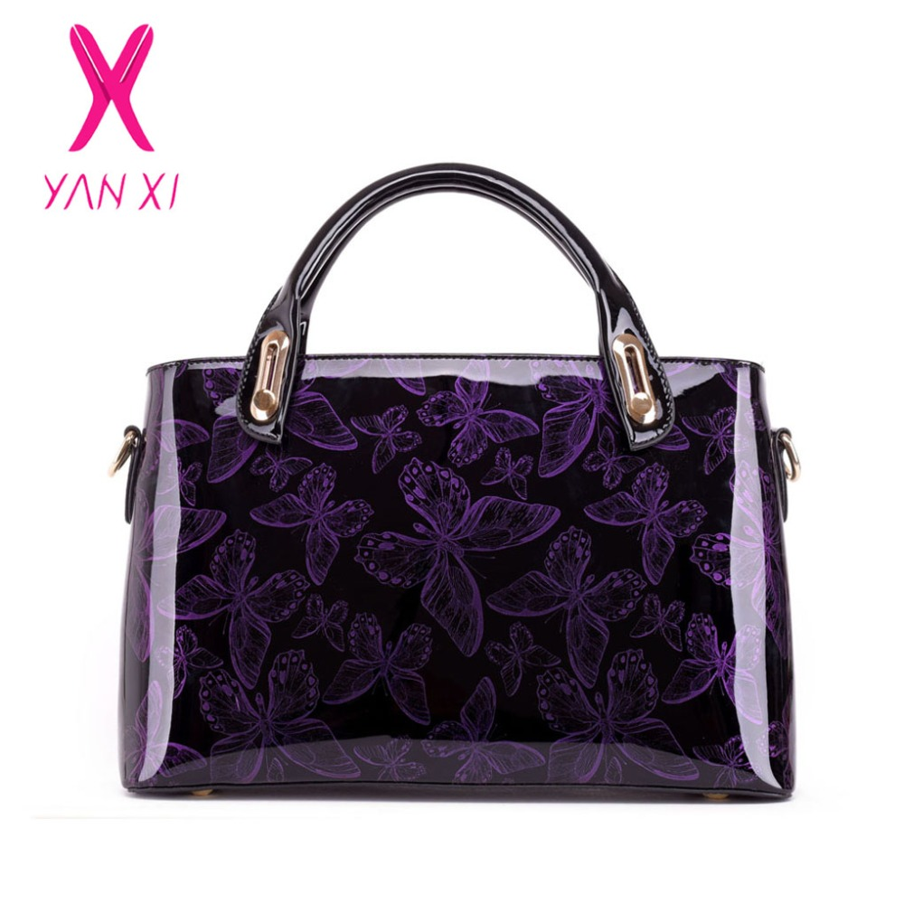 YANXI 2017 Hot Sale Butterfly Patent Leather Shoulder Vintage Handbag Hard Messenger Women's Bag Designer Handbags High Quality patent leather handbag shoulder bag for women