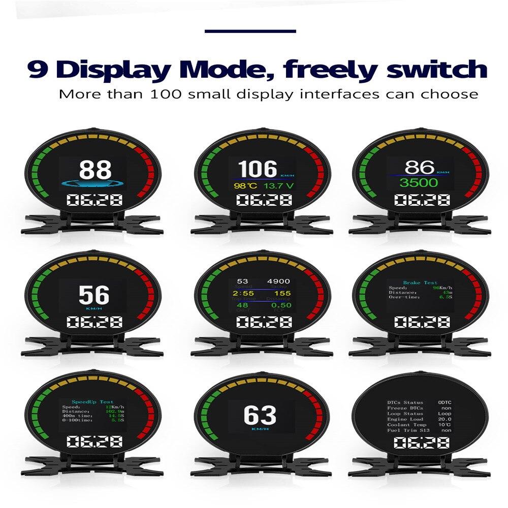 allarme velocit/à eccessiva auto comune Fault code scanner temperatura dell acqua Auto HUD Head Up display tachimetro universale GPS HUD Head Up display kmh mph tachimetro
