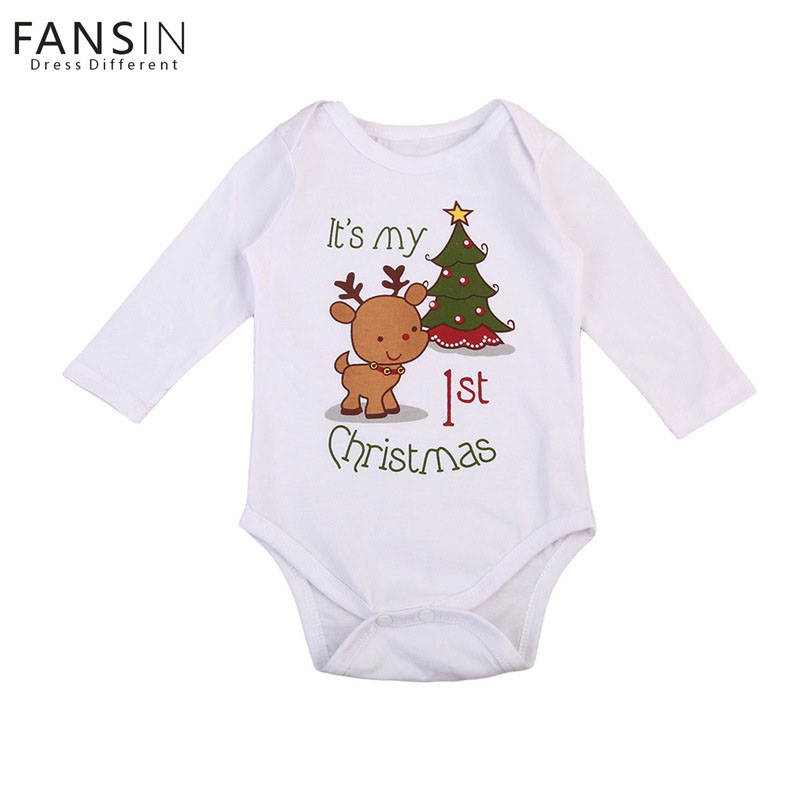 FANSIN Brand Baby Romper Infant Deer Outfits Long Sleeve Animal Jumpsuit Rompers Newborn Baby Girl Boy Christmas Tree Clothing newborn infant baby girl cotton clothes romper long sleeve plaid zipper cute jumpsuit rompers clothing outfits