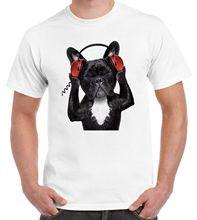 French Bulldog DJ Funny Men's T-Shirt - Bulldogs Funny Gift Present Dog Harajuku Tops Fashion Classic Unique t-Shirt gift free цены