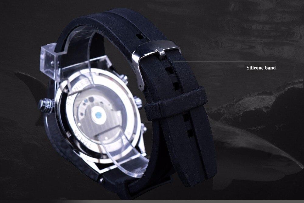 automático moda esporte relógio tubarão linhas design