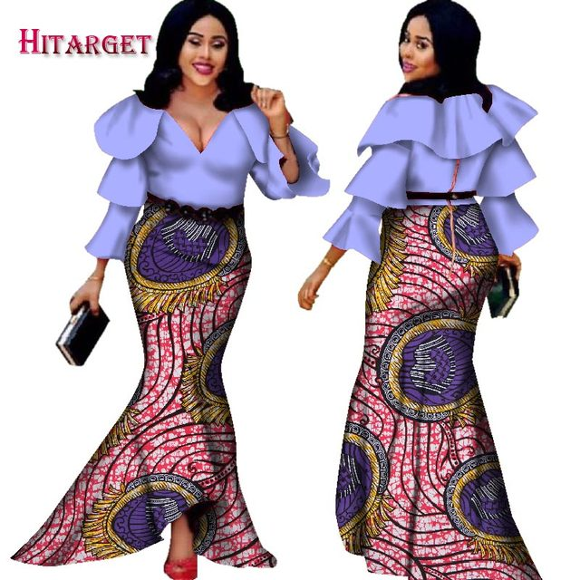 Hitarget 2017 african bazin dresses for women african long sleeves dresses in african clothing wax dashiki fabric 6xl WY2376
