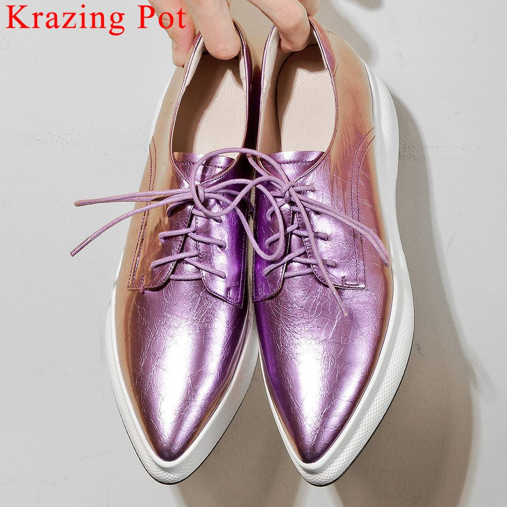 New Arrival Daily Wear Natural Leather Lace Up Sneakers Thick Bottom European Style Pointed Toe Big Size Vulcanized Shoes L0f4