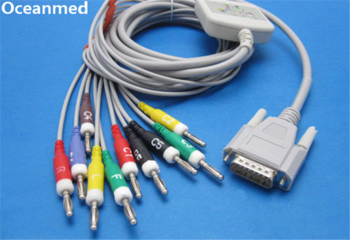 Nihon Kohden ECG-9130 Direct ECG EKG Cable 10 Leads IEC Banana 4.0mm, Compatible BJ-902D