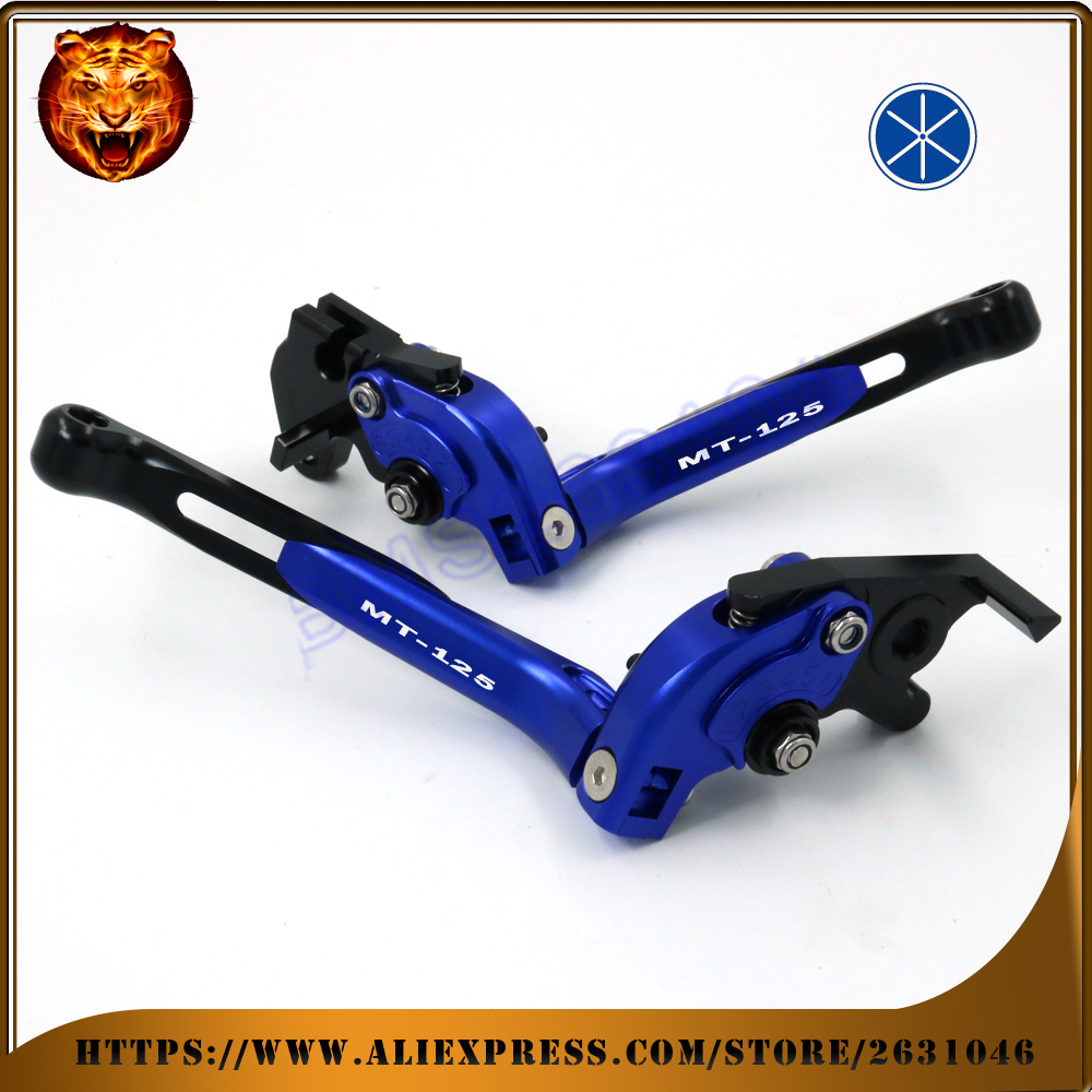 Adjustable Folding Extendable Brake Clutch Lever For YAMAHA MT125 MT-125 2014 15 16 BLUE RED NEW STYLE FREE SHIPPING Motorcycle 3d motorcycle adjustable folding brake clutch lever for yamaha mt 07 mt07 mt 07 2014 2015 mt 09 mt09 mt 09 2014 2015 fz1 fz1n