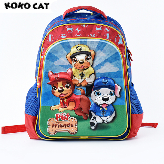 4766ef9f0619 Cartoon 3D Kids Children School Backpack Cute Dog Bags Boys Bookbag School  Backpacks for Teens Boys