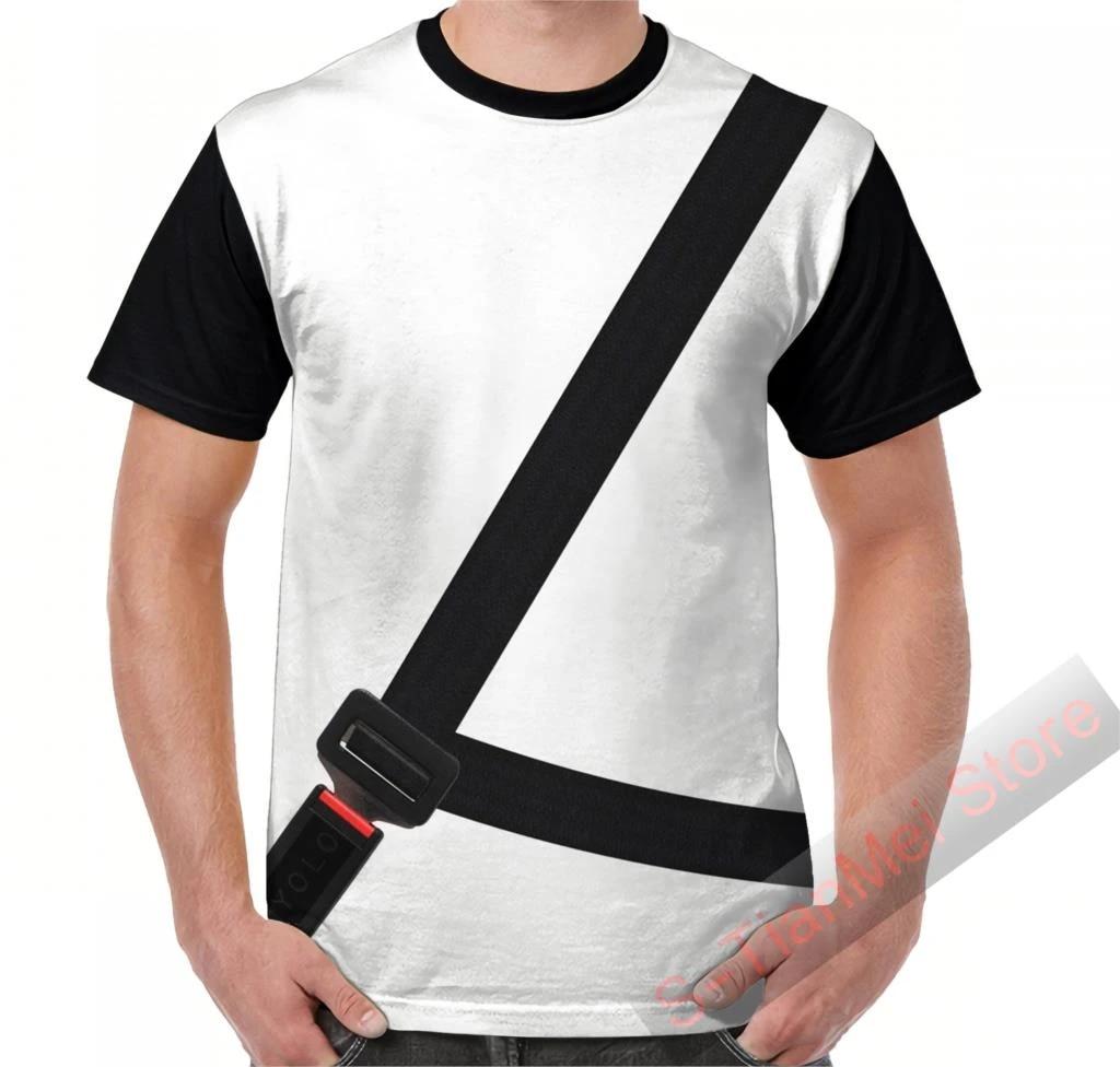 Summer Graphic t shirt men tops tees Fake seat belt printed women funny T  Shirt Short Sleeve Casual tshirts|T-Shirts| - AliExpress