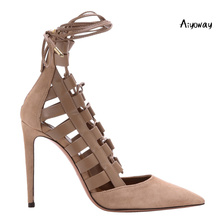 Aiyoway Women Shoes Ladies Pointed Toe High Heels Pumps Lace Up Ankle Strap Autumn Spring Sexy Wedding Party Slip On