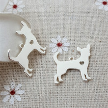 b0468ee73 High Quality 10 Pieces/Lot 18mm*19mm Silver Plated Dog Charm Polished Cute  Chihuahua