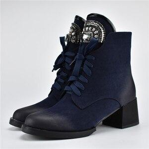 Image 2 - MORAZORA gran oferta botines de mujer con cremallera + cordones botas de invierno otoño moda de cristal zapatos de tacón alto Mujer