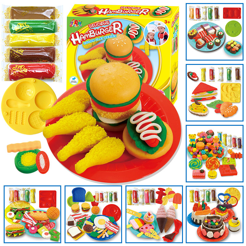 9Styles 3D Plasticine Toys For Children Pretend Play Colorful Clay With Modeling Candy/Hamberger/Cake/Ice-cream Play Dough Toys