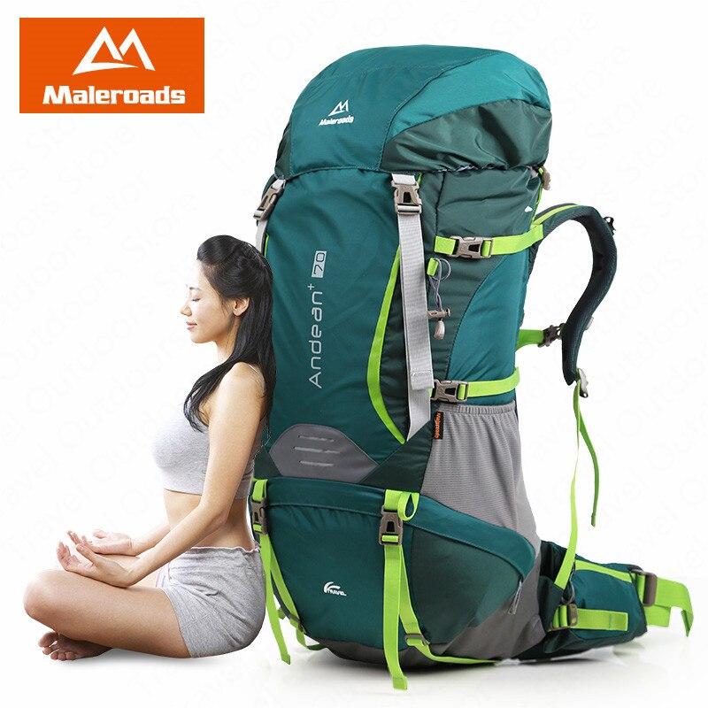 Maleroads 70L mochila de viaje al aire libre de senderismo mochila profesional CR sistema transpirable mochila de Camping al aire libre senderismo