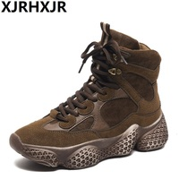XJRHXJR 2019 New High Top Platform Sneakers Women Ins Ankle Boots Sock Shoes Woman Unisex Dad Chunky Sneakers Zapatos De MuJjer