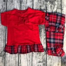 Хлопковые рождественские пижамы с оборками для девочек; детские пижамы для малышей; рождественские Семейные пижамы в клетку