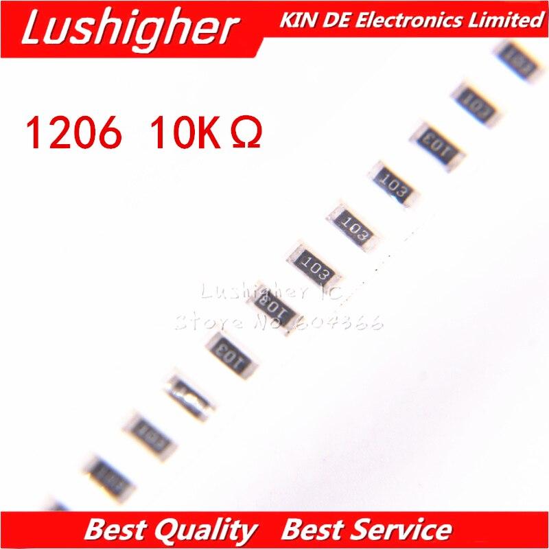 100PCS 1206 SMD Resistor 5% 10K Ohm 103 10.0Kohm