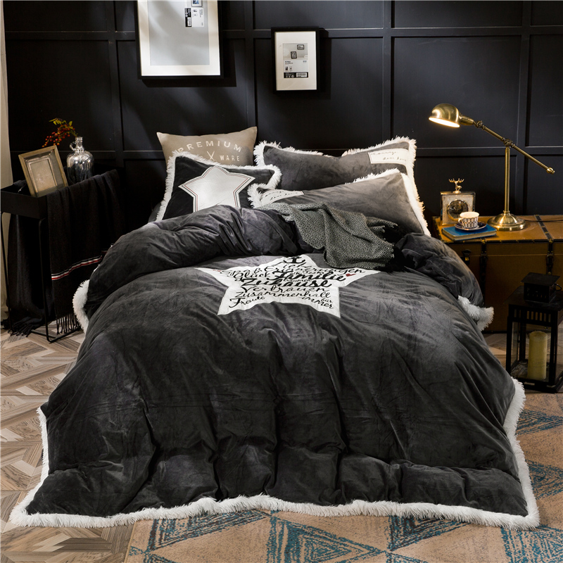 Crystal Flannel Pentagram Bedding set Winter Warm Fleece edge Applique embroidery 4pcs Duvet cover set Bed Sheet Queen King size