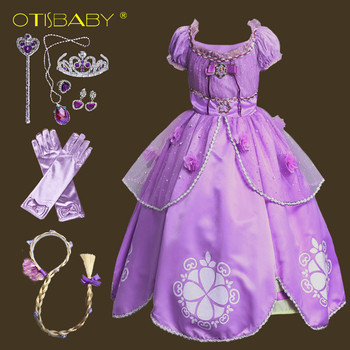 Vestido morado del primer disfraz de Sofía para niñas, vestidos de Princesa Sofía para Halloween, vestidos de fiesta para niños, vestido de Rapunzel para bebés
