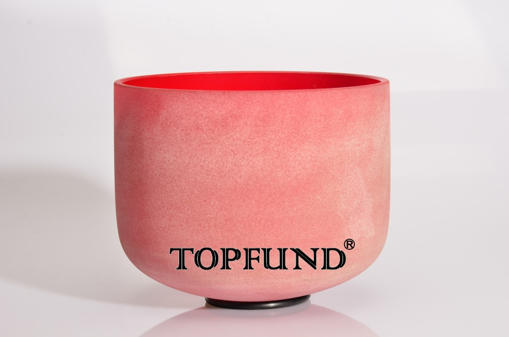 ФОТО Red Color C Note Root Chakra Frosted Quartz Crystal Singing Bowl 8