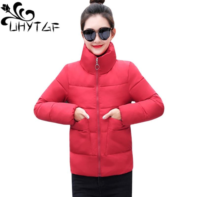 2019 Mode Uhytgf Mode Winterjas Vrouwen Warme Dikke Effen Korte Jas Koreaanse Student Katoen Gevoerde Parka Jas Stand Kraag Xl Xxl 163