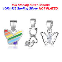 100% 925 Sterling Silver Colorful Butterfly Pendant Charms Vnistar Fox Cat Charm for Necklace Making Hollow Butterfly charms(China)